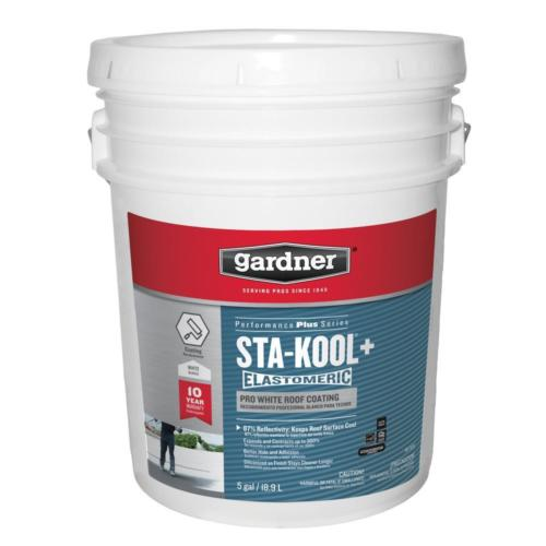 Gardner 5 Gal. Sta-Kool+ Elastomeric White Roof Coating Reduces Cooling Cost