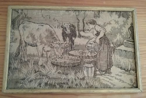 VIntage Tapestry Framed Wall  Art Farm Maiden Cows 1920's