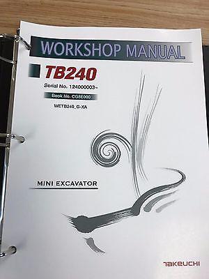 Takeuchi TB240 Mini Excavator Workshop Service Repair Manual