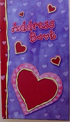 Address book (martin designs) purple and red heart