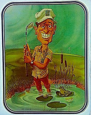 Vintage 1977 Golfer in Water Trap with Frog! Iron On Transfer Golf RARE!