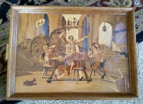 Buchschmid and Gretaux marquetry wood inlay tray.