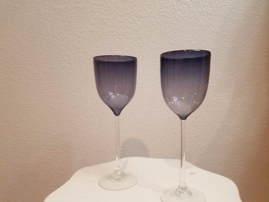 Josh Simpson Art Glass purple gray blue wine glasses goblets