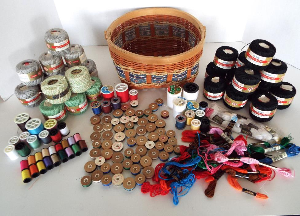 Huge Estate Lot Sewing Basket Filled With Crochet Embroidery Threads Bobbins