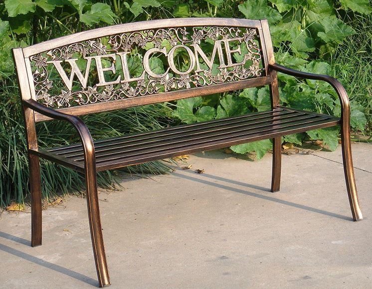 Garden Bench Metal Benches for Outdoors Rustic Outdoor Welcome Patio Seat Lawn R