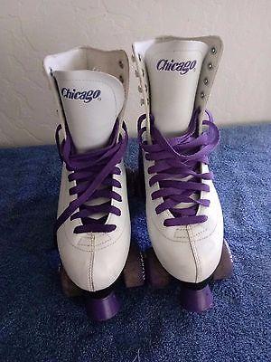 Ladies Chicago White Leather Roller Skates Size 10