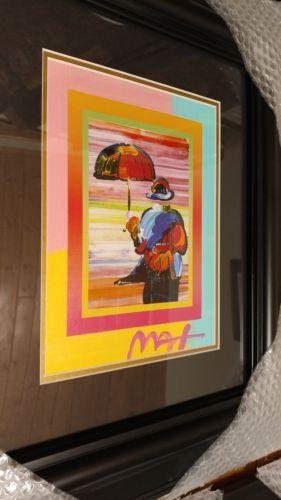peter max mixed media signed framed umbrella man