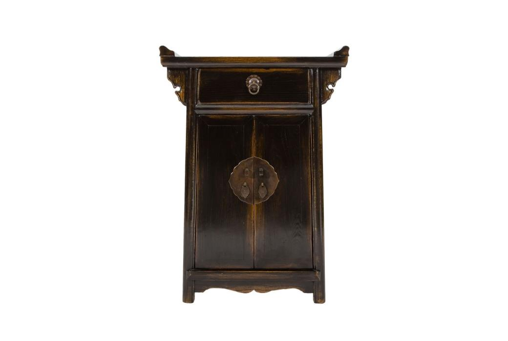 Chinese Elmwood Alter End Table with Drawer in Black OR Red Lacquer finishing