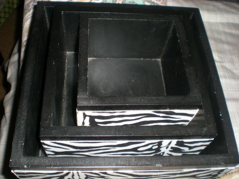 decorative zebra shadow wood boxes