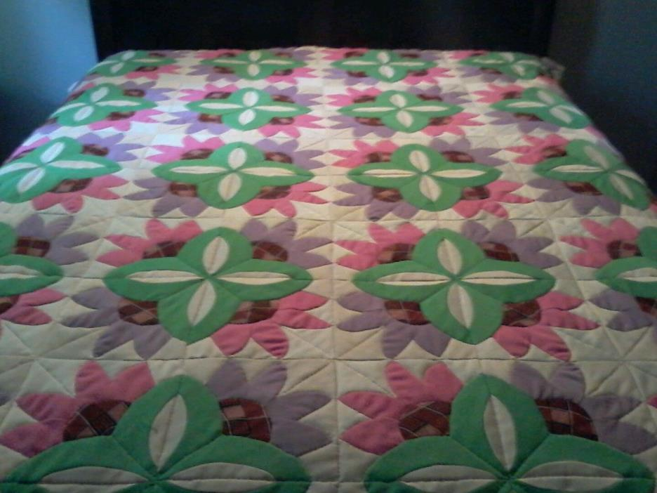 Vintage Cottage Shic Granny Square Quilt Blanket Throw 69x82