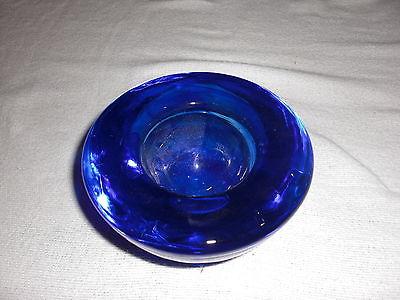 Kosta Boda Atoll Anna Ehrner blue swirls Crystal Votive Candle Holder