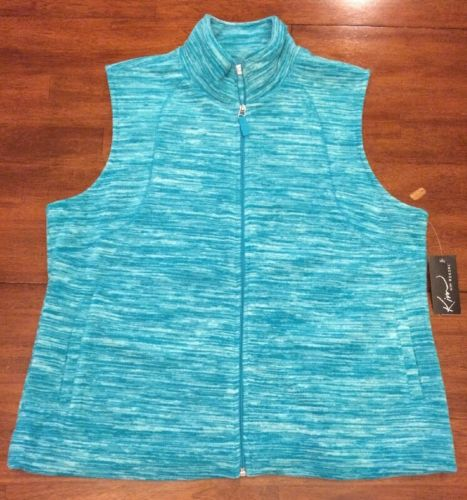 Kim Rogers Casual Women's Vest XL Turquoise White Soft Zip Up Front New NWT