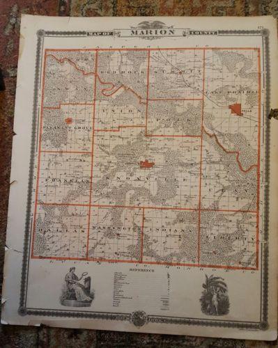 Marion County Iowa 1875 Antique Atlas Map Ames Conway Lenox Derby Glidden