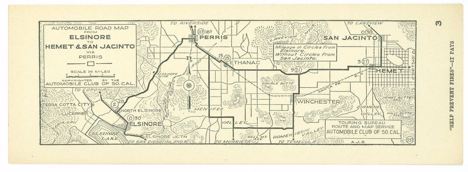 1920s Elsinore to Hemet & San Jacinto, Cal AAA Automobile Club of Southern Calif