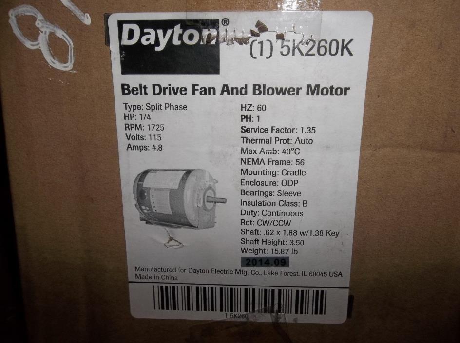 NEW DAYTON 5K260K Motor, 1/4 HP, 1725 RPM, 115 V