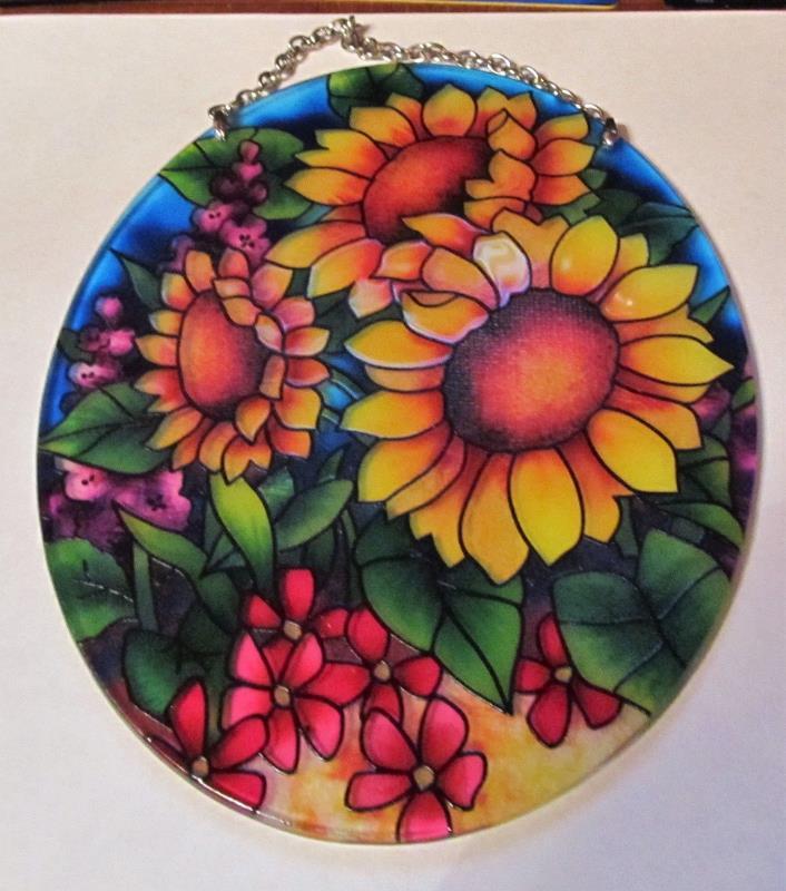 JOAN BAKER Stained-Glass look Sunflower  Fields Suncatcher