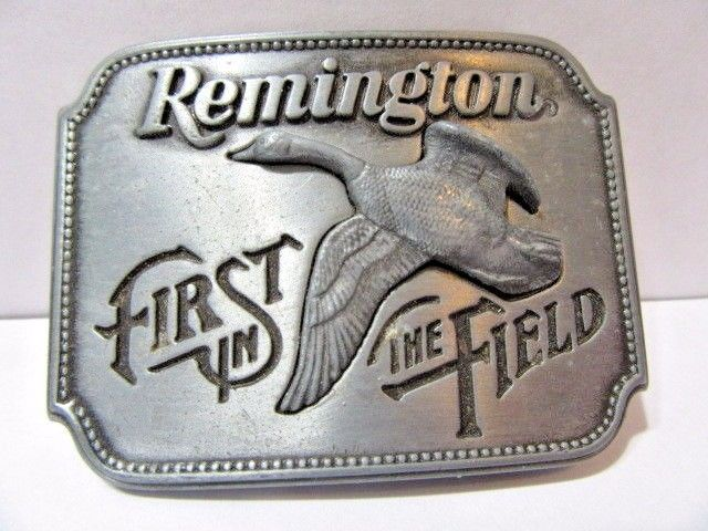 REMINGTON FIRST IN THE FIELD PEWTER BUCKLE CANADIAN GOOSE BIRD 1980 SID BELL