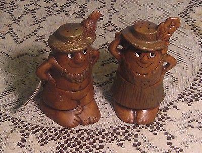 Vintage Treasure Craft Hawaiian Man & Woman Tiki Salt & Pepper Shakers