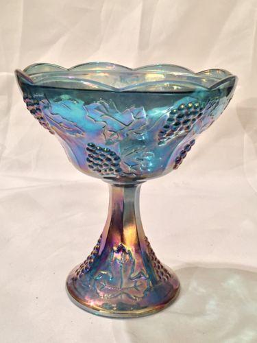 Vintage Indiana Blue Carnival Glass (Grape Harvest) Compote 9