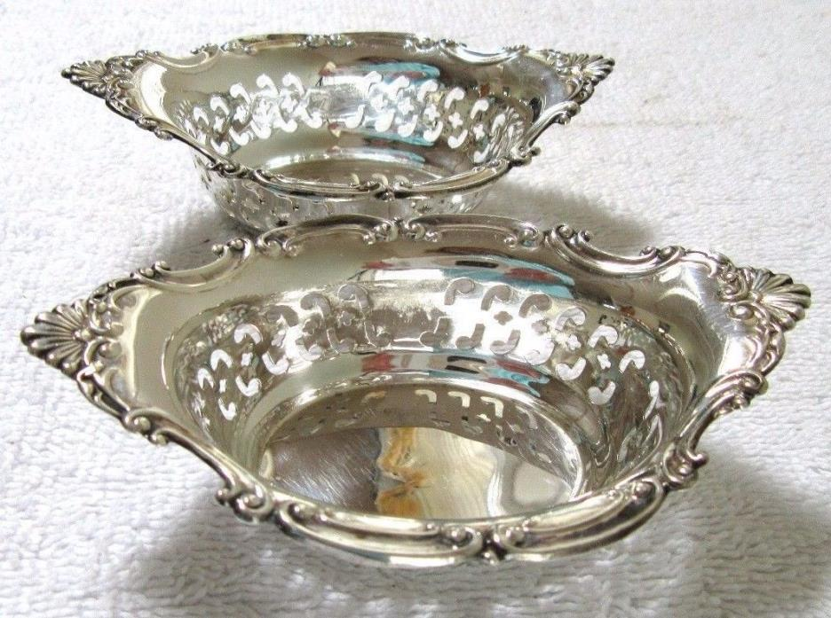 2 GORHAM CROMWELL STERLING SILVER NUT BONBON BOWL RETICULATED REPOUSSE PR CANDY