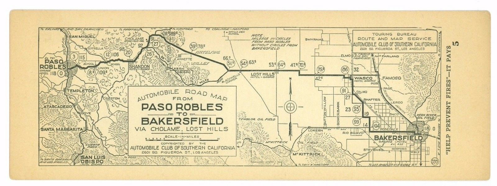 1920s Paso Robles to Bakersfield, Cal. AAA Automobile Club of Southern Calif Map