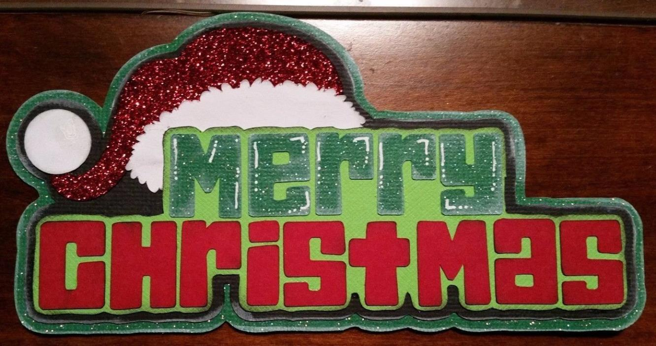 MERRY CHRISTMAS Title Paper Piecing for Scrapbook Layout Premade Holiday Santa