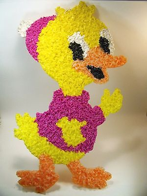 Vintage Melted Plastic Popcorn HAPPY DUCK Easter Spring Wall Hanging