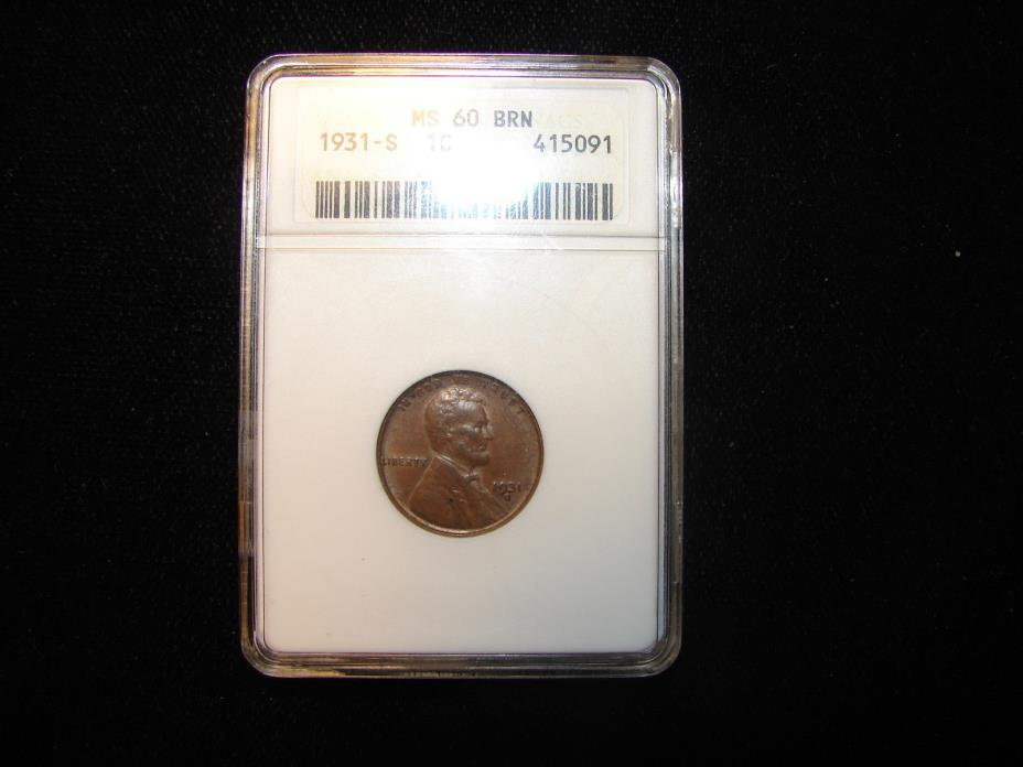 1931 S Lincoln Small Cent Grade by ANACS as MS630 as Pictured.