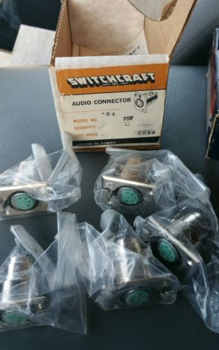 (5) Switchcraft D5F Panel Mount 5 Pin XLR Female Audio Connector, NOS lot of 5