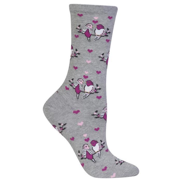 Love Birds Trouser Crew Socks Sweatshirt Grey BG NWT Women Sock Size 9-11 HOTSOX