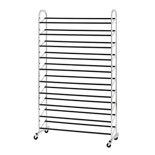 50 Pair Rolling Shoe Rack Durable Includes 4 casters 2 That Lock, Chrome