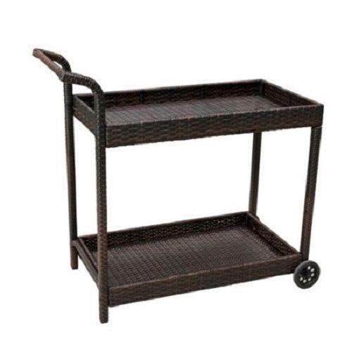 Baja Wicker Patio Deck Pool Serving Cart Outdoor Wine Trolley Rolling Bar Tray
