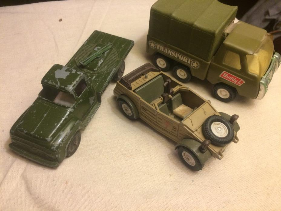 lot 3 Vintage Buddy L Army Supply Corps Truck,tootsietoy,kubelwagen,britains ltd