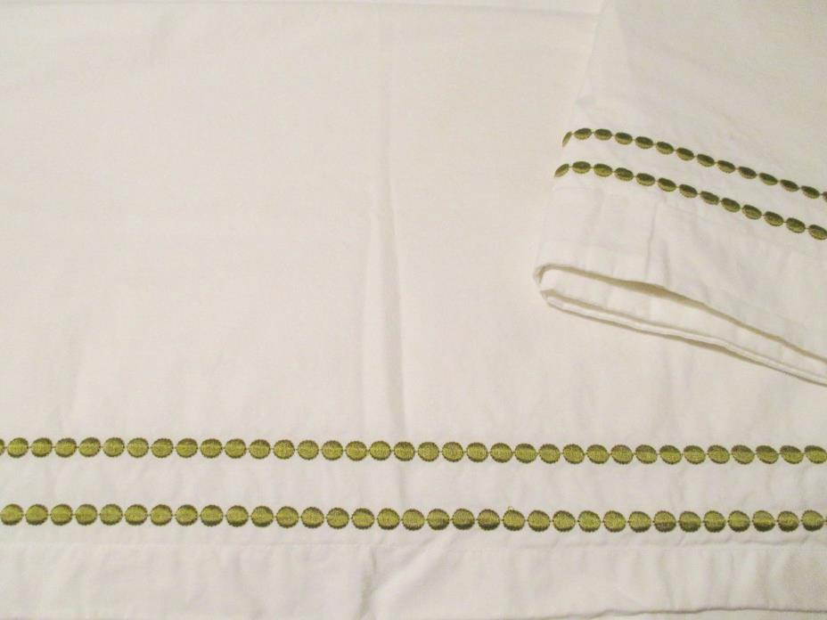 PAIR Pottery Barn Green Apple Pearl Embroidered EURO Pillow Shams