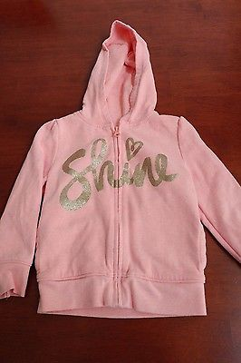 Toddler girl zip-up long sleeve hoodie, Old Navy, gold glitter/coral pink, 3T