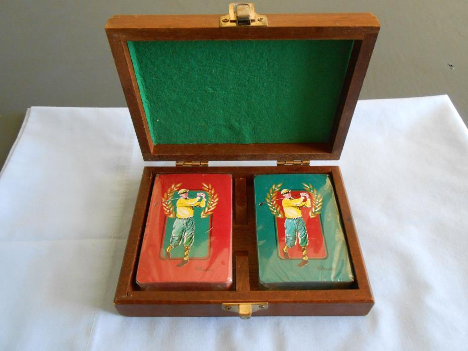 Vintage Golf Playing Cards Classic 1993 Wood Box