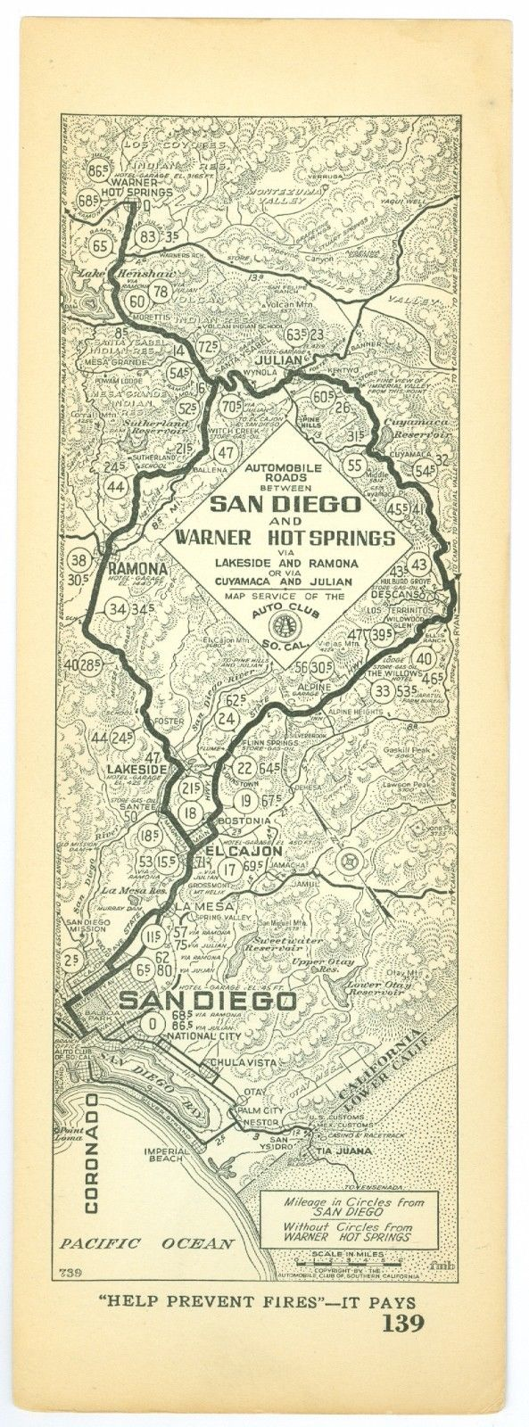 1920s San Diego to Warner Hot Springs, AAA Automobile Club of Southern Calif Map