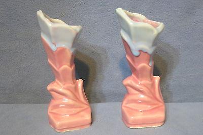Vintage Shawnee Art Pottery Floral Vases USA 705 PAIR Pink w Blue 5