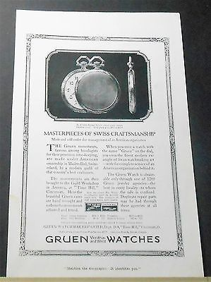 1918 GRUEN POCKET WATCH AD verithin V514G Swiss Craftsmanship