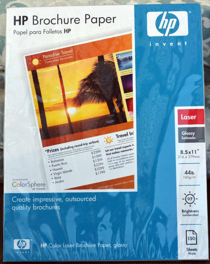 Sealed HP Brochure Paper 150 Sheets Laser Glossy 44lb 97 Brightness 8 1/2 X 11