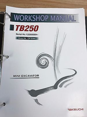 Takeuchi TB250 Mini Excavator Workshop Service Repair Manual