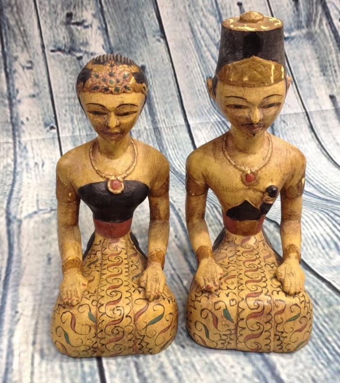 Vtg Antique Wood Bridal Inseparable Couple Loro Blonyo Java