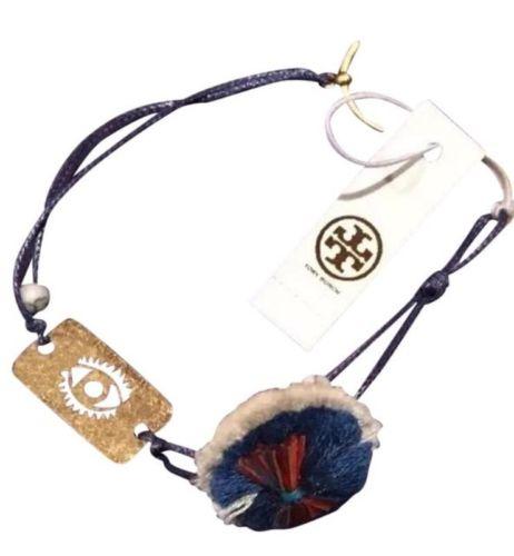 Tory Burch Evil Eye Dog Tag Thread Bracelet - Multi/Gold Ox (NWT)
