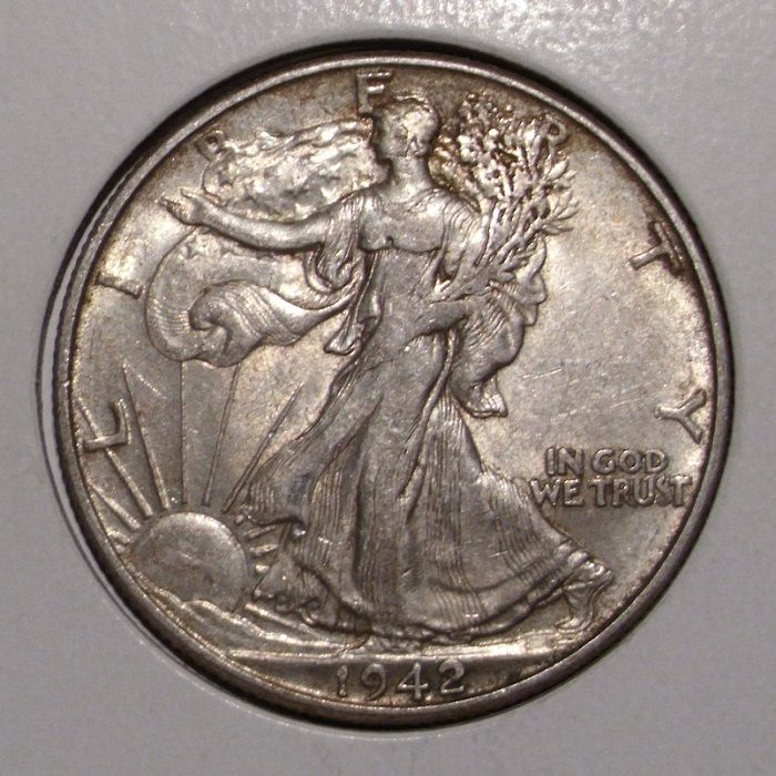 1942 Walking Liberty Silver Half Dollar , XF