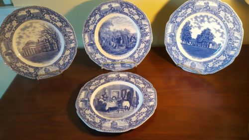 Set of 4 Crown Ducal Colonial Times Dinner Plates