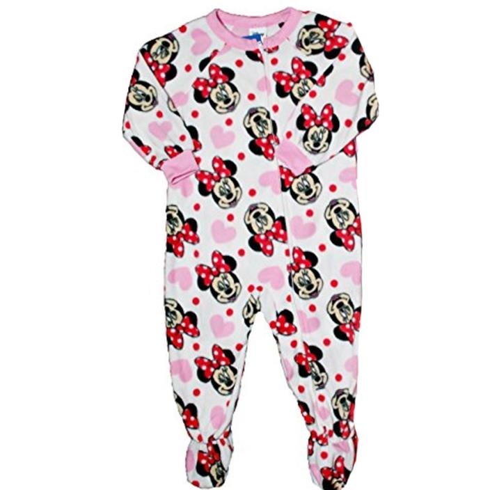 BRAND NEW Disney Minnie Mouse Footie Pajamas Size 24 M Hearts PJs Baby Girl