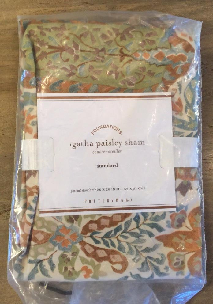 1 POTTERY BARN AGATHA PAISLEY 100% COTTON 200TC Standard Sham 26x20 Green Blue