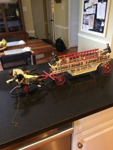 Vintage Antique Cast Iron Horse Drawn Fire Wagon Truck Toy w/Ladders & 2 Firemen