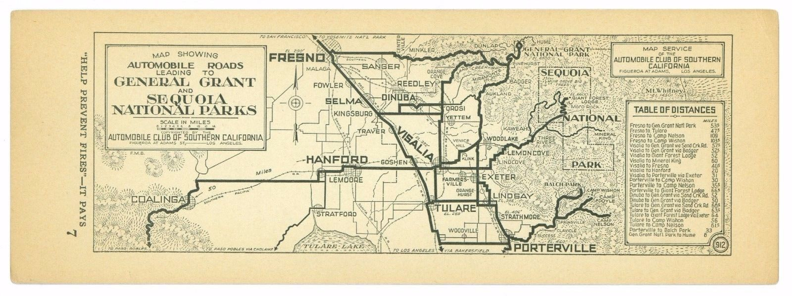 1920s General Grant & Sequoia National Park AAA Automobile Club Southern Cal Map