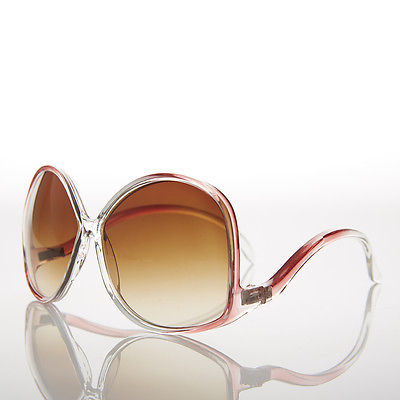Red Oversized Women's Low Temple 70s Vintage Sunglasses - Vazzy